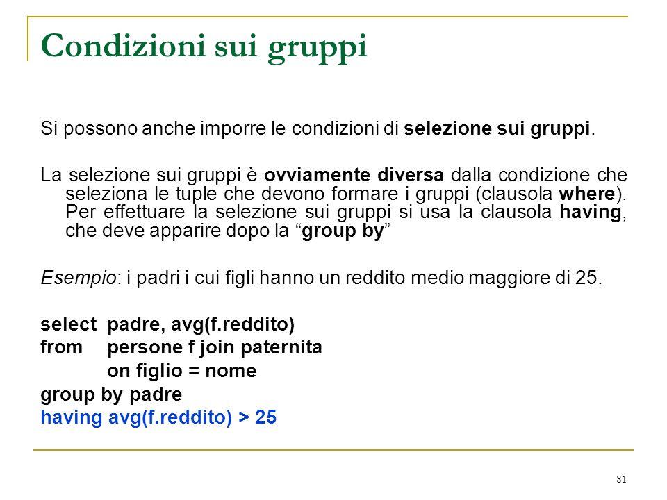 81 Condizioni sui gruppi Si possono anche imporre le condizioni di selezione sui gruppi.