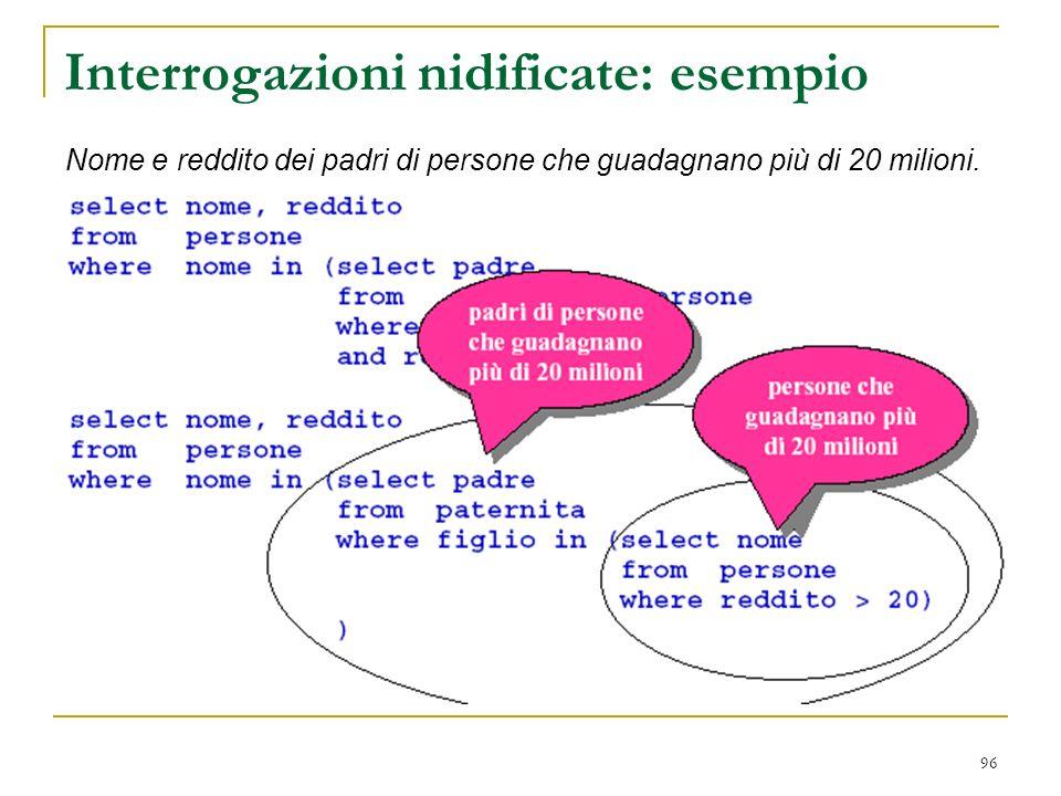 96 Interrogazioni nidificate: esempio Nome e reddito dei padri di persone che guadagnano più di 20 milioni.