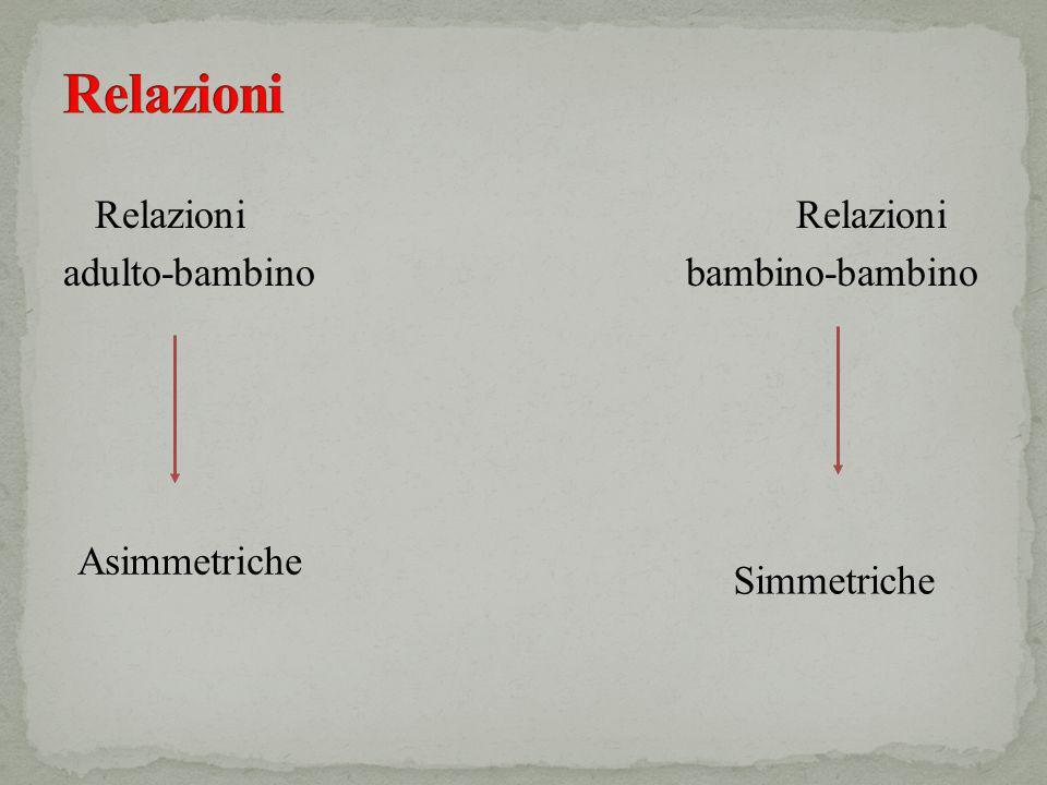 Relazioni adulto-bambino bambino-bambino Asimmetriche Simmetriche
