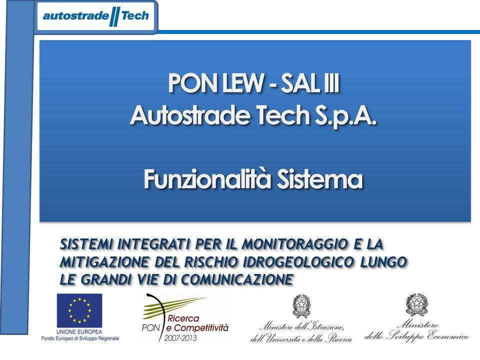 PON LEW - SAL III Autostrade Tech S.p.A. Funzionalità Sistema PON LEW - SAL III Autostrade Tech S.p.A. Funzionalità Sistema SISTEMI INTEGRATI PER IL M