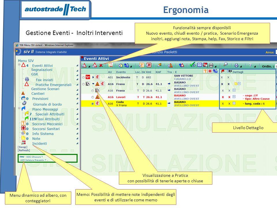 LEW Traffic Interfaccia Sinottico a)Visualizzazione stato del traffico LOS b)Zoom dettaglio tratte c)Eventi Significativi su tratta d)Link dettaglio sensori Traffico disponibili Ergonomia