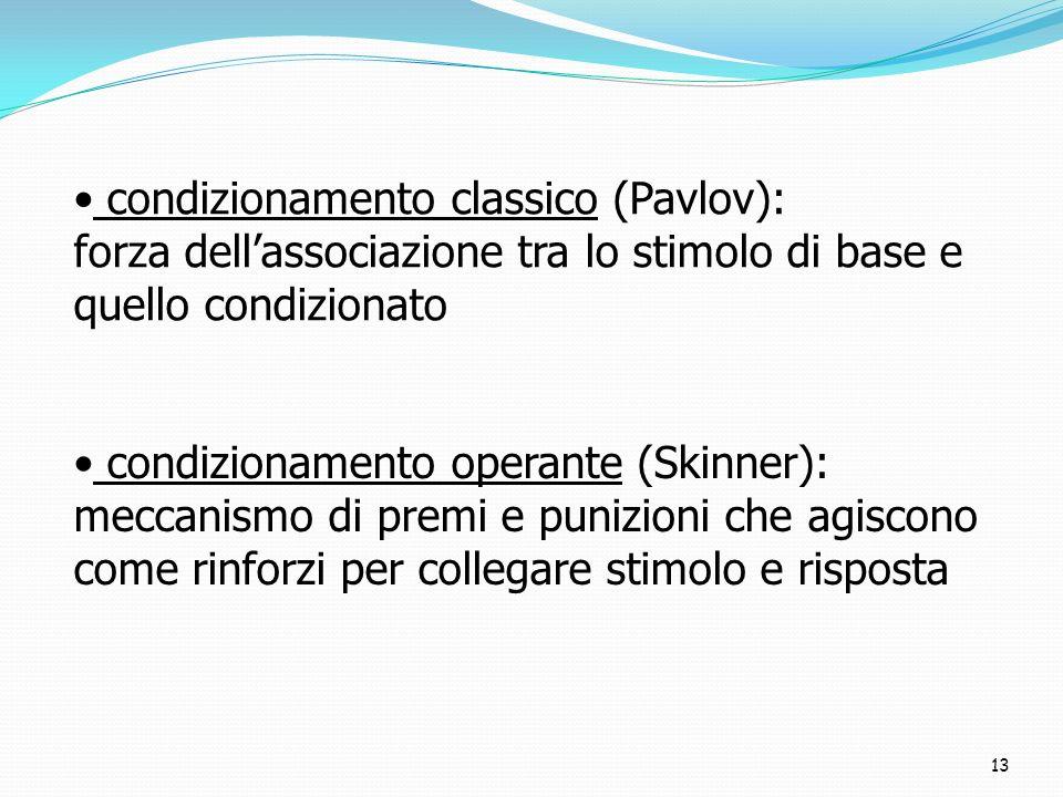 13 condizionamento classico (Pavlov): forza dellassociazione tra lo stimolo di base e quello condizionato condizionamento operante (Skinner): meccanis
