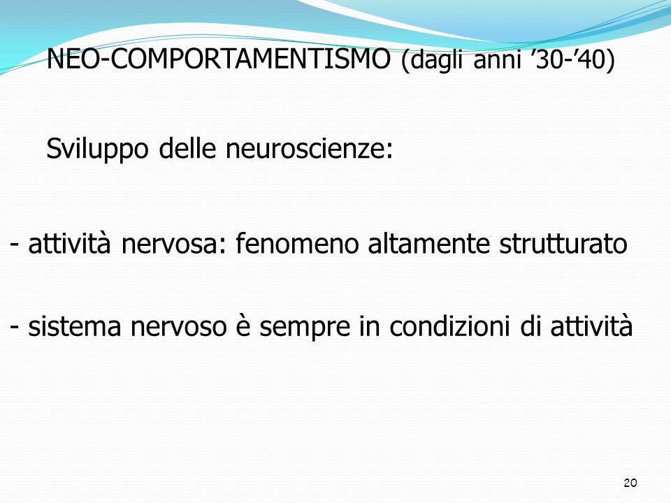 20 NEO-COMPORTAMENTISMO (dagli anni 30-40) Sviluppo delle neuroscienze: - attività nervosa: fenomeno altamente strutturato - sistema nervoso è sempre