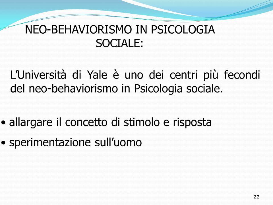 22 NEO-BEHAVIORISMO IN PSICOLOGIA SOCIALE: LUniversità di Yale è uno dei centri più fecondi del neo-behaviorismo in Psicologia sociale. allargare il c