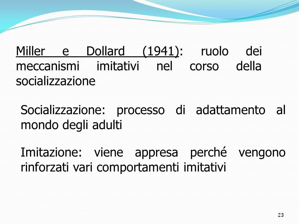 23 Miller e Dollard (1941): ruolo dei meccanismi imitativi nel corso della socializzazione Socializzazione: processo di adattamento al mondo degli adu