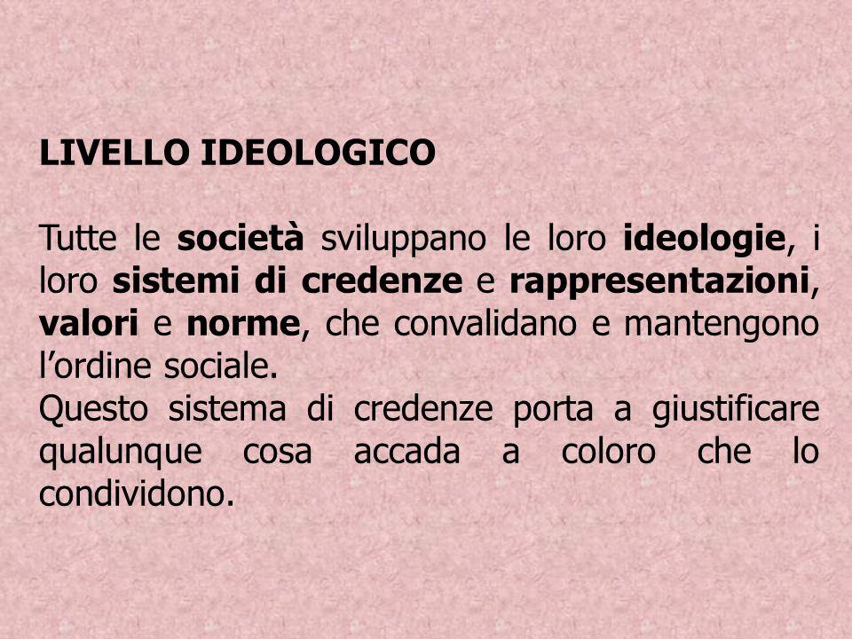 LIVELLO IDEOLOGICO Tutte le società sviluppano le loro ideologie, i loro sistemi di credenze e rappresentazioni, valori e norme, che convalidano e man