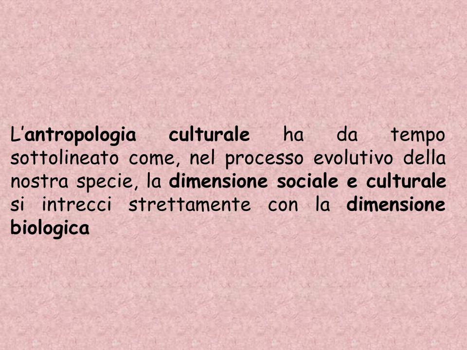 Lantropologia culturale ha da tempo sottolineato come, nel processo evolutivo della nostra specie, la dimensione sociale e culturale si intrecci stret