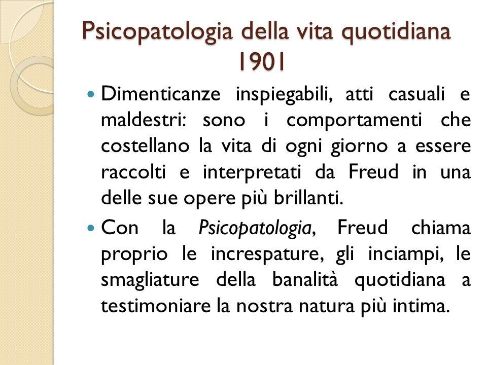 Psicopatologia della vita quotidiana 1901 Dimenticanze inspiegabili, atti casuali e maldestri: sono i comportamenti che costellano la vita di ogni gio