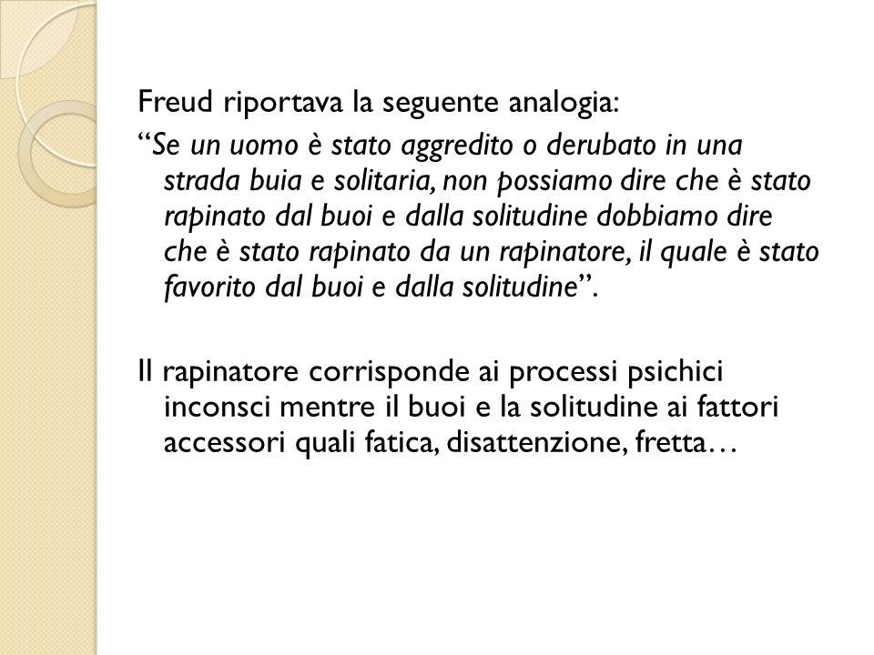 Freud riportava la seguente analogia: Se un uomo è stato aggredito o derubato in una strada buia e solitaria, non possiamo dire che è stato rapinato d