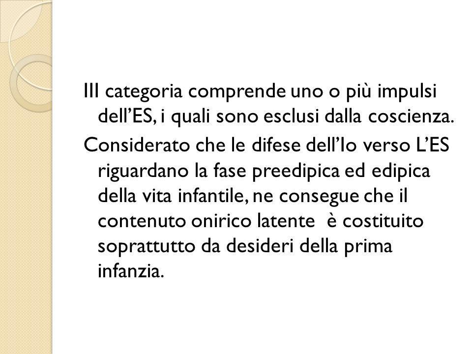 III categoria comprende uno o più impulsi dellES, i quali sono esclusi dalla coscienza. Considerato che le difese dellIo verso LES riguardano la fase