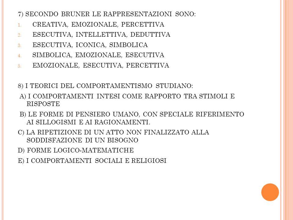 7) SECONDO BRUNER LE RAPPRESENTAZIONI SONO: 1.CREATIVA, EMOZIONALE, PERCETTIVA 2.