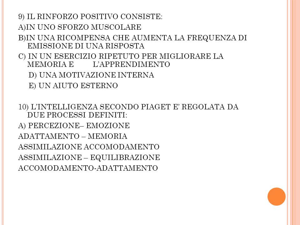 9) IL RINFORZO POSITIVO CONSISTE: A)IN UNO SFORZO MUSCOLARE B)IN UNA RICOMPENSA CHE AUMENTA LA FREQUENZA DI EMISSIONE DI UNA RISPOSTA C) IN UN ESERCIZIO RIPETUTO PER MIGLIORARE LA MEMORIA E LAPPRENDIMENTO D) UNA MOTIVAZIONE INTERNA E) UN AIUTO ESTERNO 10) LINTELLIGENZA SECONDO PIAGET E REGOLATA DA DUE PROCESSI DEFINITI: A) PERCEZIONE– EMOZIONE ADATTAMENTO – MEMORIA ASSIMILAZIONE ACCOMODAMENTO ASSIMILAZIONE – EQUILIBRAZIONE ACCOMODAMENTO-ADATTAMENTO