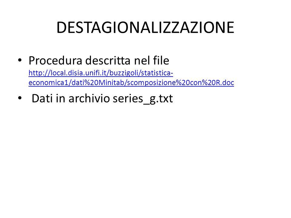 DESTAGIONALIZZAZIONE Procedura descritta nel file http://local.disia.unifi.it/buzzigoli/statistica- economica1/dati%20Minitab/scomposizione%20con%20R.doc http://local.disia.unifi.it/buzzigoli/statistica- economica1/dati%20Minitab/scomposizione%20con%20R.doc Dati in archivio series_g.txt
