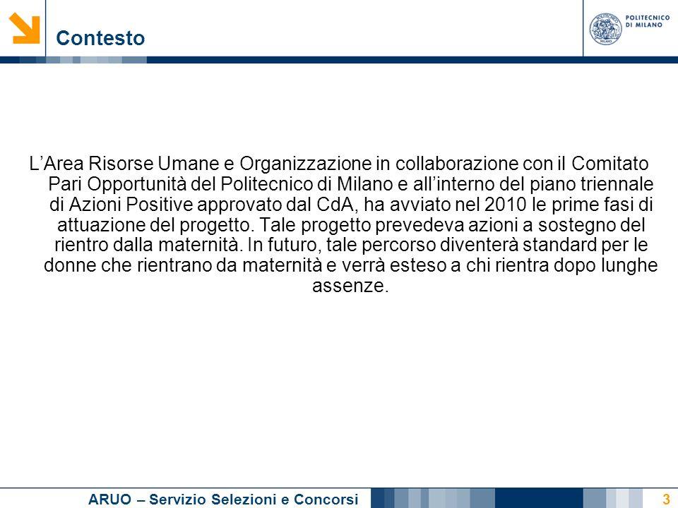 ARUO – Servizio Selezioni e Concorsi 3 Contesto LArea Risorse Umane e Organizzazione in collaborazione con il Comitato Pari Opportunità del Politecnico di Milano e allinterno del piano triennale di Azioni Positive approvato dal CdA, ha avviato nel 2010 le prime fasi di attuazione del progetto.