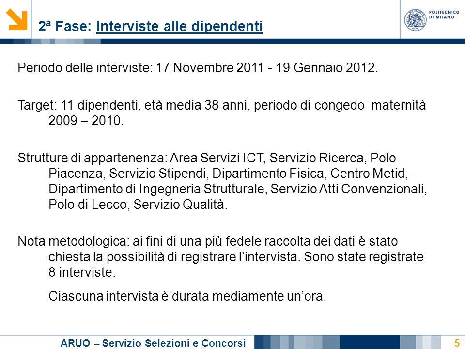 ARUO – Servizio Selezioni e Concorsi 5 2ª Fase: Interviste alle dipendenti Periodo delle interviste: 17 Novembre 2011 - 19 Gennaio 2012.