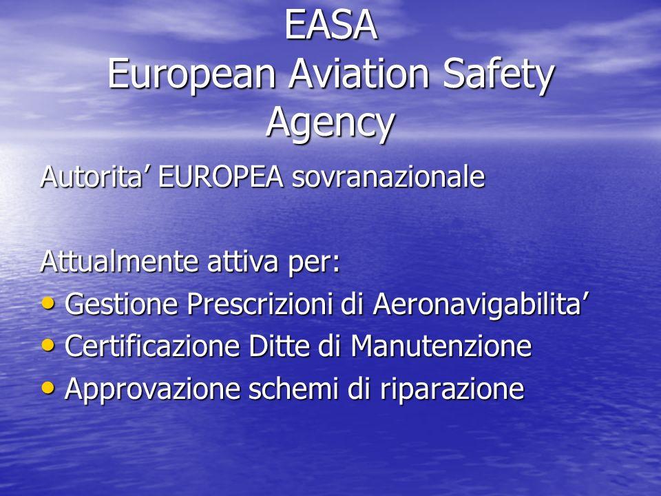 EASA European Aviation Safety Agency Autorita EUROPEA sovranazionale Attualmente attiva per: Gestione Prescrizioni di Aeronavigabilita Gestione Prescr