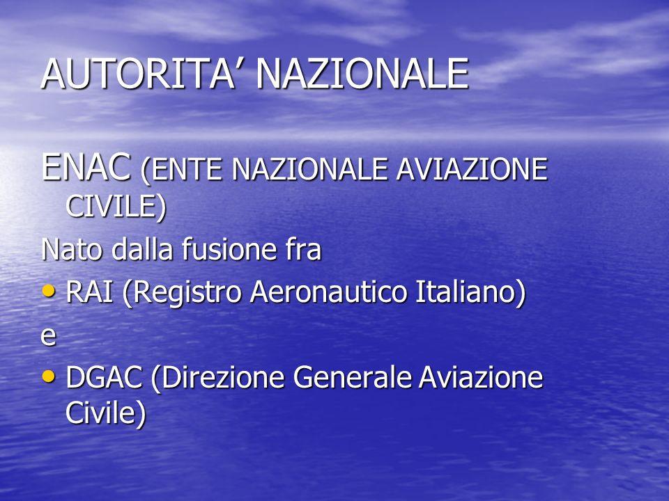 AUTORITA NAZIONALE ENAC (ENTE NAZIONALE AVIAZIONE CIVILE) Nato dalla fusione fra RAI (Registro Aeronautico Italiano) RAI (Registro Aeronautico Italian