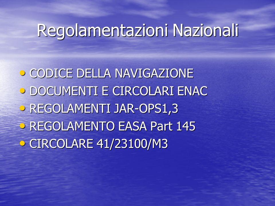 Regolamentazioni Nazionali CODICE DELLA NAVIGAZIONE CODICE DELLA NAVIGAZIONE DOCUMENTI E CIRCOLARI ENAC DOCUMENTI E CIRCOLARI ENAC REGOLAMENTI JAR-OPS