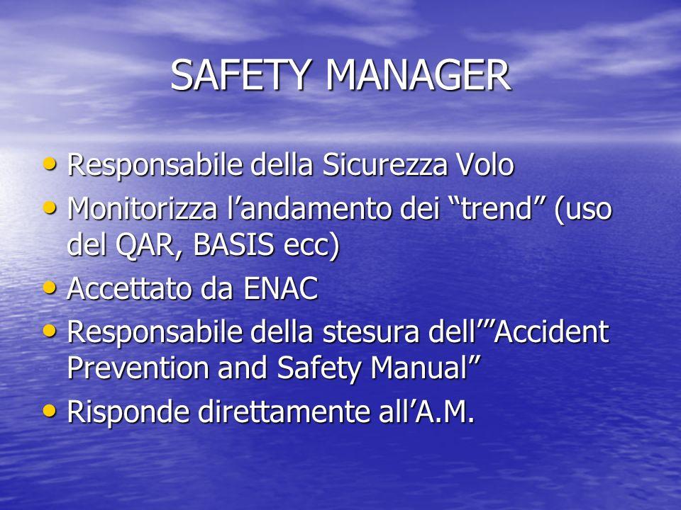 SAFETY MANAGER Responsabile della Sicurezza Volo Responsabile della Sicurezza Volo Monitorizza landamento dei trend (uso del QAR, BASIS ecc) Monitorizza landamento dei trend (uso del QAR, BASIS ecc) Accettato da ENAC Accettato da ENAC Responsabile della stesura dellAccident Prevention and Safety Manual Responsabile della stesura dellAccident Prevention and Safety Manual Risponde direttamente allA.M.