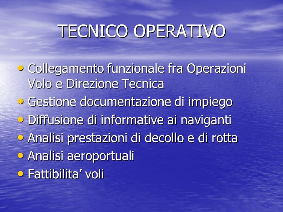 TECNICO OPERATIVO Collegamento funzionale fra Operazioni Volo e Direzione Tecnica Collegamento funzionale fra Operazioni Volo e Direzione Tecnica Gest