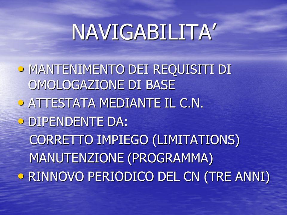 NAVIGABILITA MANTENIMENTO DEI REQUISITI DI OMOLOGAZIONE DI BASE MANTENIMENTO DEI REQUISITI DI OMOLOGAZIONE DI BASE ATTESTATA MEDIANTE IL C.N. ATTESTAT