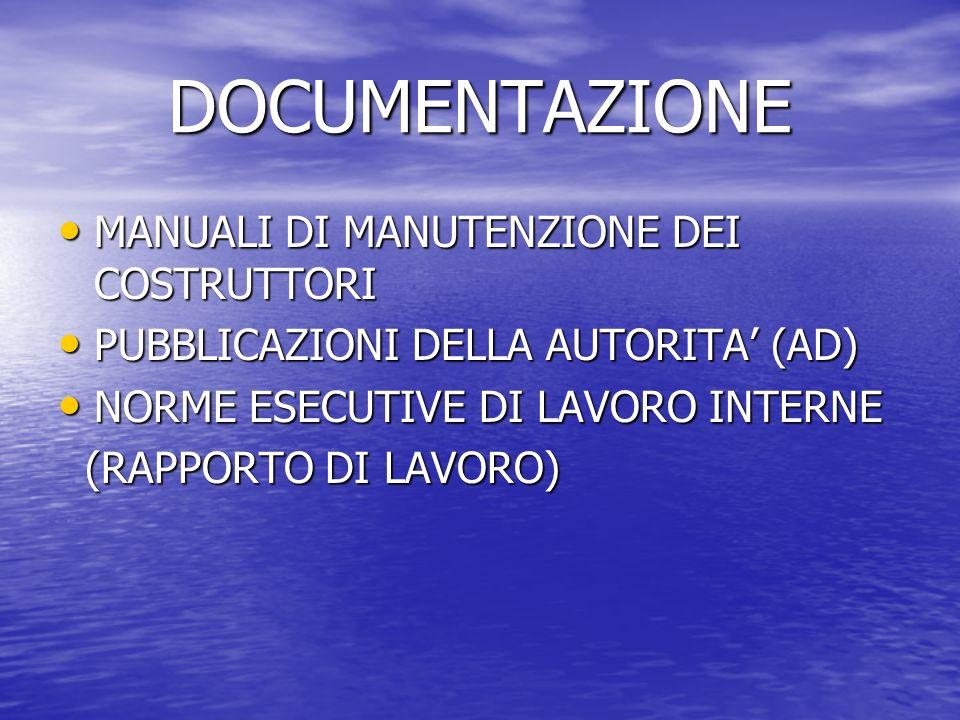 DOCUMENTAZIONE MANUALI DI MANUTENZIONE DEI COSTRUTTORI MANUALI DI MANUTENZIONE DEI COSTRUTTORI PUBBLICAZIONI DELLA AUTORITA (AD) PUBBLICAZIONI DELLA A