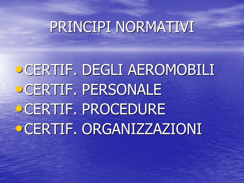 PRINCIPI NORMATIVI CERTIF. DEGLI AEROMOBILI CERTIF. DEGLI AEROMOBILI CERTIF. PERSONALE CERTIF. PERSONALE CERTIF. PROCEDURE CERTIF. PROCEDURE CERTIF. O