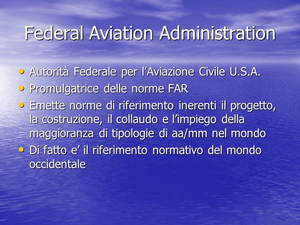 Federal Aviation Administration Autorità Federale per lAviazione Civile U.S.A. Autorità Federale per lAviazione Civile U.S.A. Promulgatrice delle norm