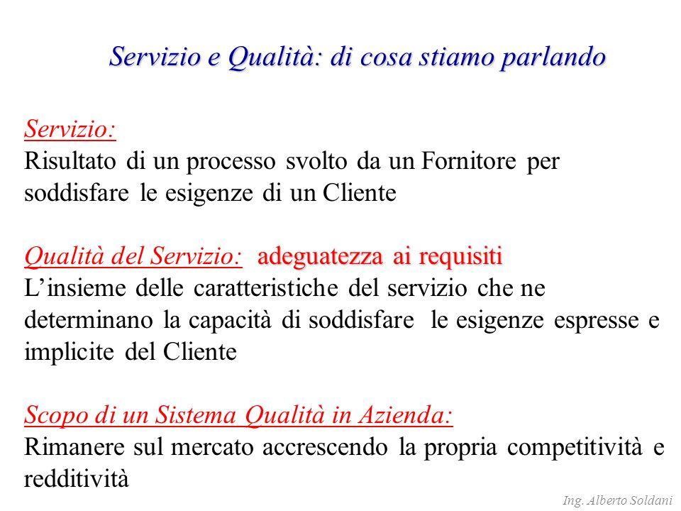 Servizio e Qualità: di cosa stiamo parlando Servizio: Risultato di un processo svolto da un Fornitore per soddisfare le esigenze di un Cliente adeguat