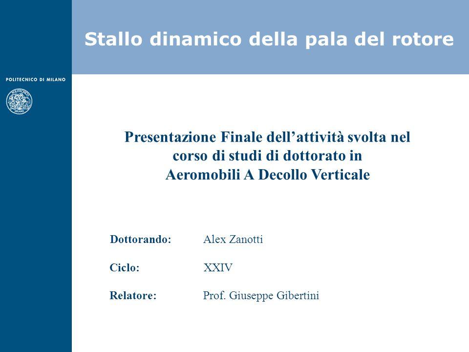 Stallo dinamico della pala del rotore Presentazione Finale dellattività svolta nel corso di studi di dottorato in Aeromobili A Decollo Verticale Dotto
