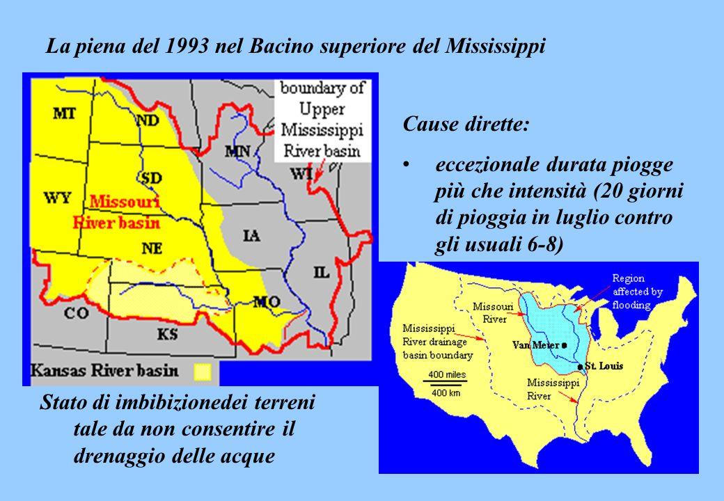 La piena del 1993 nel Bacino superiore del Mississippi Cause dirette: eccezionale durata piogge più che intensità (20 giorni di pioggia in luglio cont