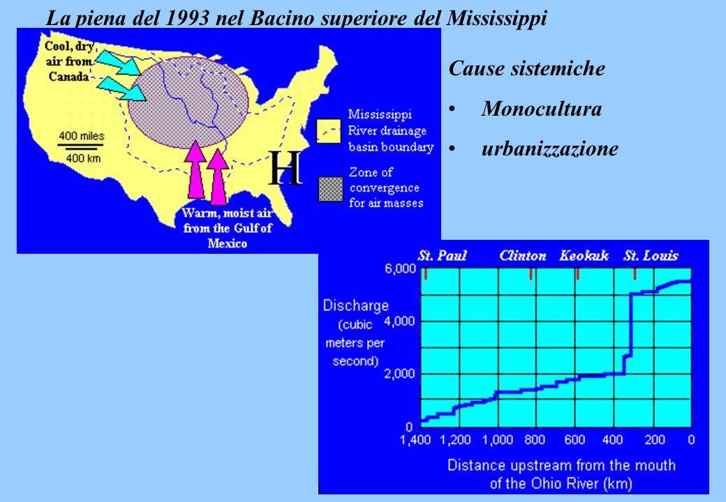 La piena del 1993 nel Bacino superiore del Mississippi Cause sistemiche Monocultura urbanizzazione