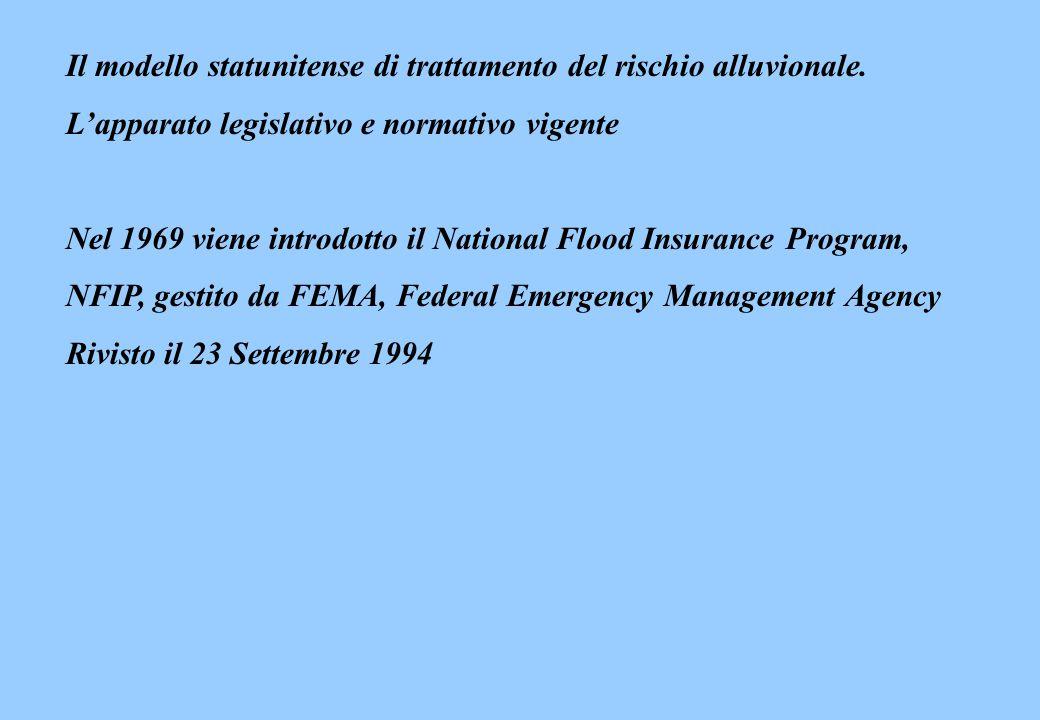 Il modello statunitense di trattamento del rischio alluvionale. Lapparato legislativo e normativo vigente Nel 1969 viene introdotto il National Flood