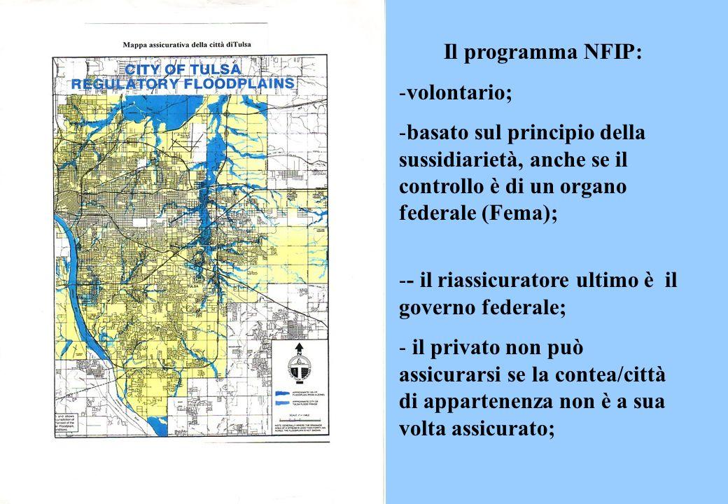 Il programma NFIP: -volontario; -basato sul principio della sussidiarietà, anche se il controllo è di un organo federale (Fema); -- il riassicuratore