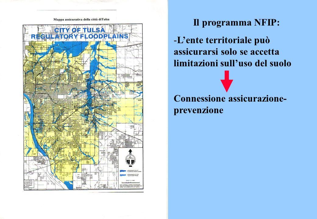 Il programma NFIP: -Lente territoriale può assicurarsi solo se accetta limitazioni sulluso del suolo Connessione assicurazione- prevenzione