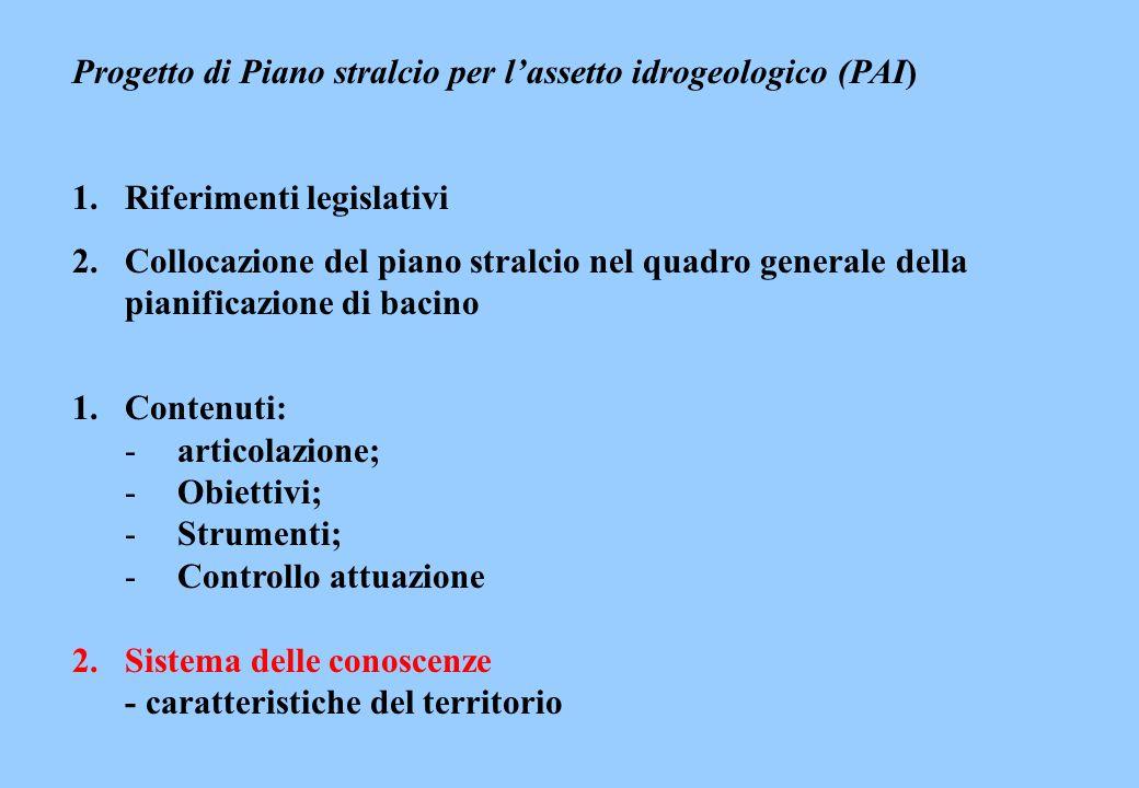 Progetto di Piano stralcio per lassetto idrogeologico (PAI) 1.Riferimenti legislativi 2.Collocazione del piano stralcio nel quadro generale della pian