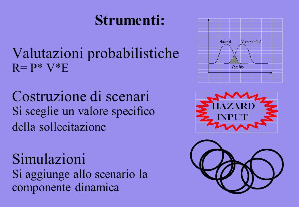 Strumenti: Valutazioni probabilistiche R= P* V*E Costruzione di scenari Si sceglie un valore specifico della sollecitazione Simulazioni Si aggiunge allo scenario la componente dinamica