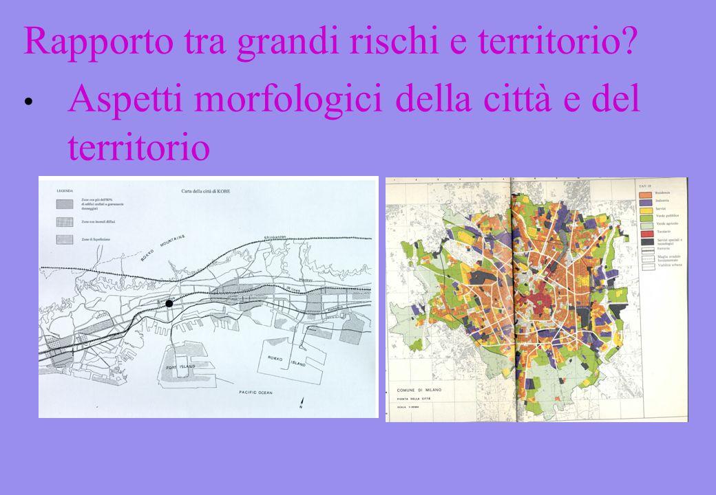 Rapporto tra grandi rischi e territorio Aspetti morfologici della città e del territorio