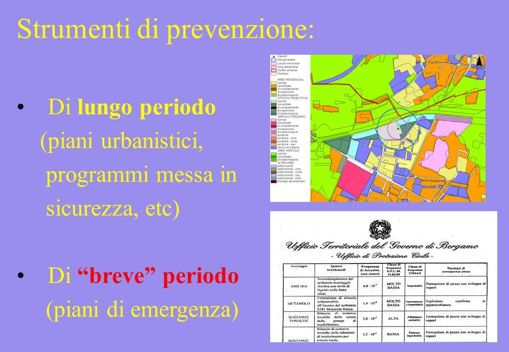 Strumenti di prevenzione: Di lungo periodo (piani urbanistici, programmi messa in sicurezza, etc) Di breve periodo (piani di emergenza)