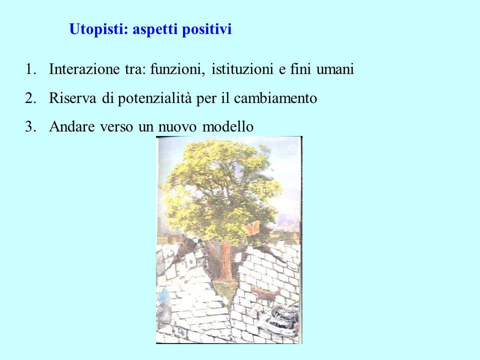 Utopisti: aspetti positivi 1.Interazione tra: funzioni, istituzioni e fini umani 2.Riserva di potenzialità per il cambiamento 3.Andare verso un nuovo