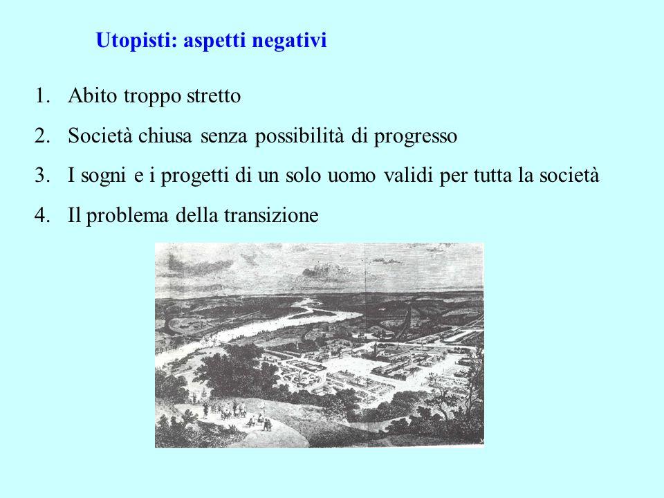 Utopisti: aspetti negativi 1.Abito troppo stretto 2.Società chiusa senza possibilità di progresso 3.I sogni e i progetti di un solo uomo validi per tu