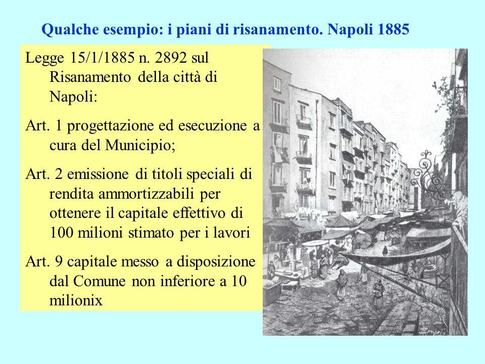 Legge 15/1/1885 n. 2892 sul Risanamento della città di Napoli: Art. 1 progettazione ed esecuzione a cura del Municipio; Art. 2 emissione di titoli spe