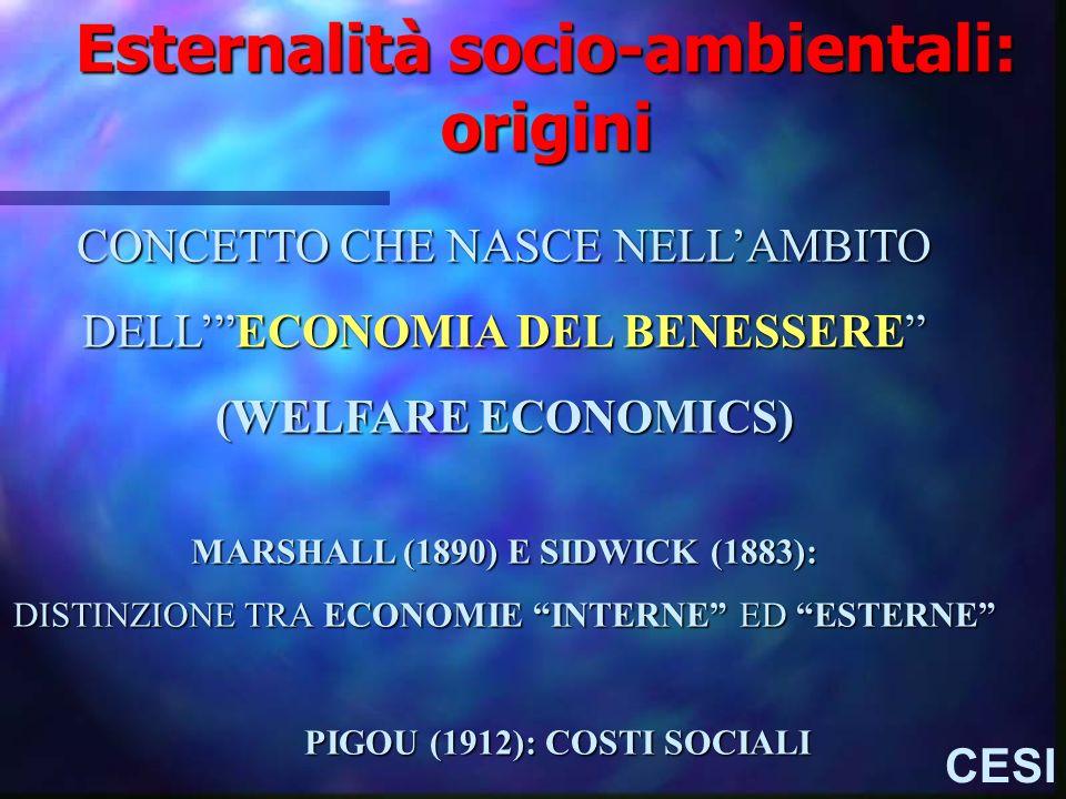 Esternalità socio-ambientali: origini CESI CONCETTO CHE NASCE NELLAMBITO DELLECONOMIA DEL BENESSERE (WELFARE ECONOMICS) MARSHALL (1890) E SIDWICK (188