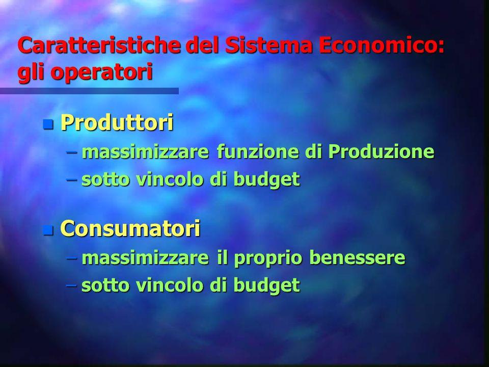 Caratteristiche del Sistema Economico: gli operatori n Produttori –massimizzare funzione di Produzione –sotto vincolo di budget n Consumatori –massimi