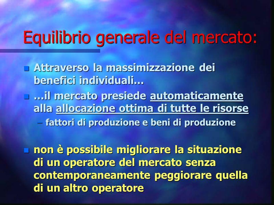 Equilibrio generale del mercato: n Attraverso la massimizzazione dei benefici individuali... n …il mercato presiede automaticamente alla allocazione o