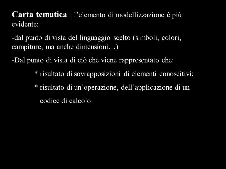 Carta tematica : lelemento di modellizzazione è più evidente: -dal punto di vista del linguaggio scelto (simboli, colori, campiture, ma anche dimensioni…) -Dal punto di vista di ciò che viene rappresentato che: * risultato di sovrapposizioni di elementi conoscitivi; * risultato di unoperazione, dellapplicazione di un codice di calcolo