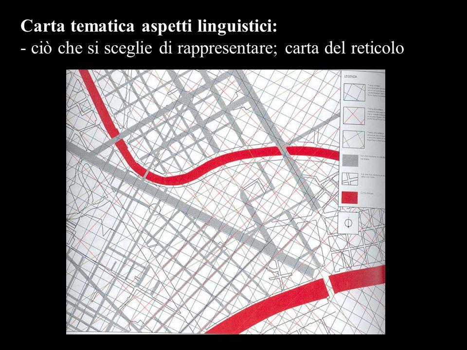 Carta tematica aspetti linguistici: - ciò che si sceglie di rappresentare; carta del reticolo