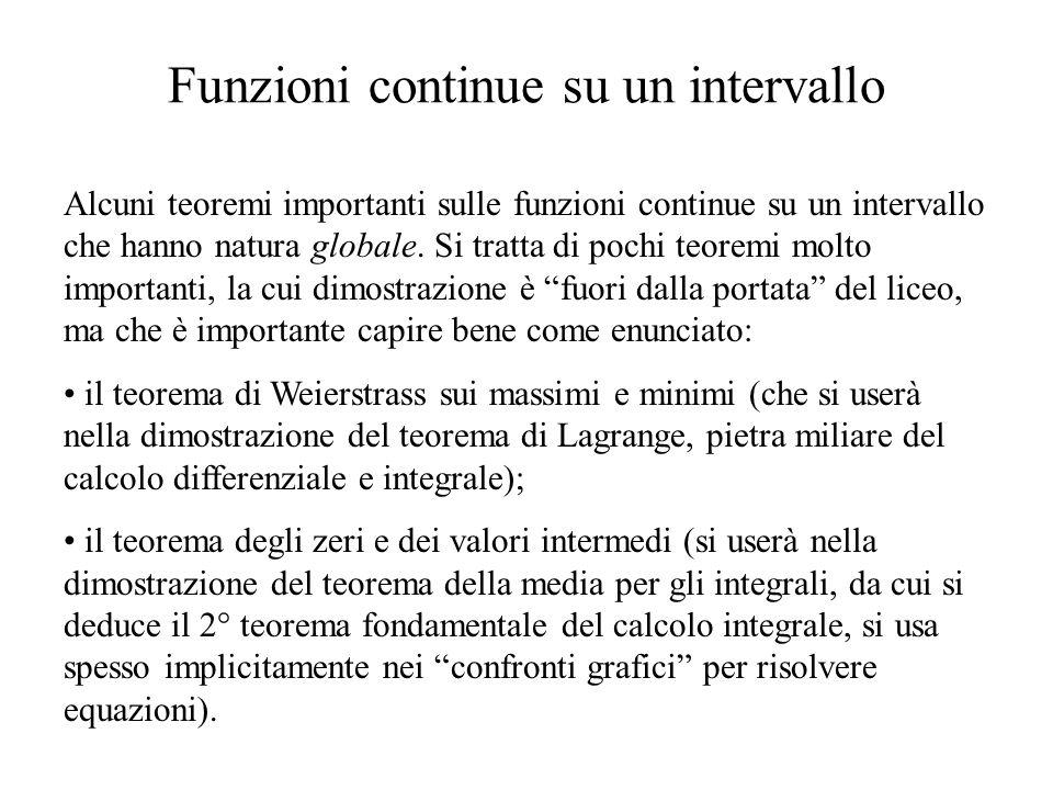 Funzioni continue su un intervallo Alcuni teoremi importanti sulle funzioni continue su un intervallo che hanno natura globale.