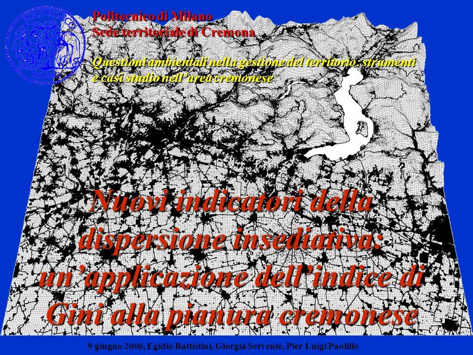 Valutazione ambientale e Valutazione ambientale e limiti insediativi alla dimensione di area vasta limiti insediativi alla dimensione di area vasta Stima della sostenibilità delle scelte localizzative (indicata con S) S = f (a, b, c, d, e, f) Nuovi indicatori della dispersione insediativa: unapplicazione dellindice di Gini alla pianura cremonese a: compattezza delle forme insediative CF=coeff di forma b: entità ed estensione dei nuovi nuclei urbanizzati DISP1 = distribuzione dellurbanizzato puntiforme, DISP2 = distribuzione dei nuclei < 1,5 ha, DISP3 = distribuzione dei nuclei > 1,5 ha; c: dispersione insediativa DUP = densità dellurbanizzato poligonale, CONN = connettività, ETE = eterogeneità spaziale; d: consumo di suoli ad alta capacità duso o elevato grado di naturalità; e: rischio idraulico f: contenimento delle pressioni sui sistemi naturali.
