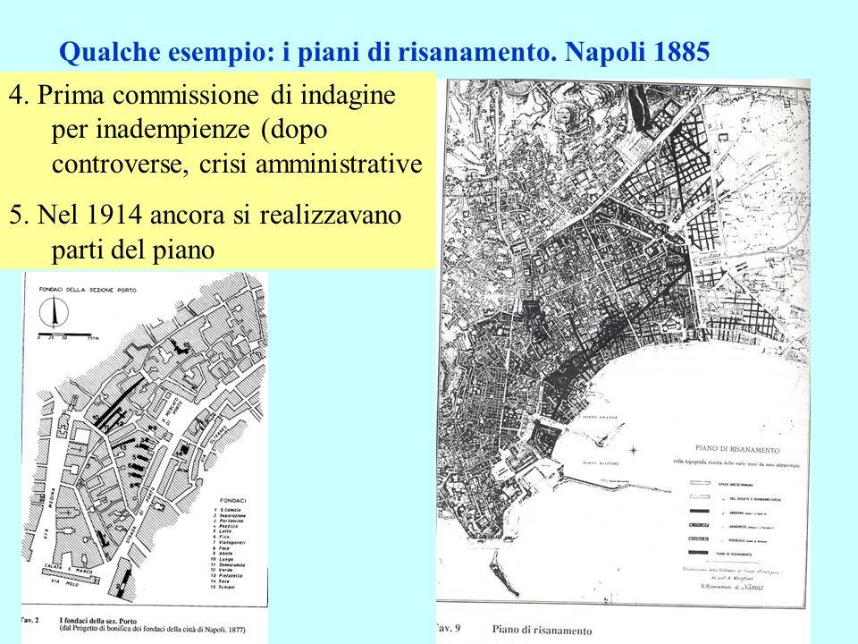 4. Prima commissione di indagine per inadempienze (dopo controverse, crisi amministrative 5. Nel 1914 ancora si realizzavano parti del piano